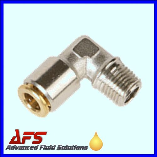 6mm x M8x1 Metric HP 90° Elbow FIXED Brass Push Fit Connector